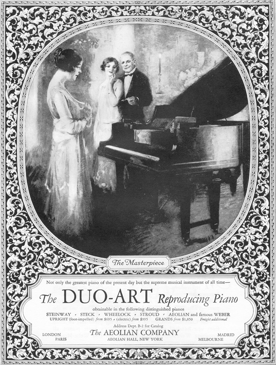 1925 advertisement for the Duo-Art Reproducing Piano